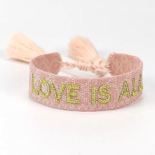 "Boho Canvas Armband ""Love is all"" Rosa-Gold"
