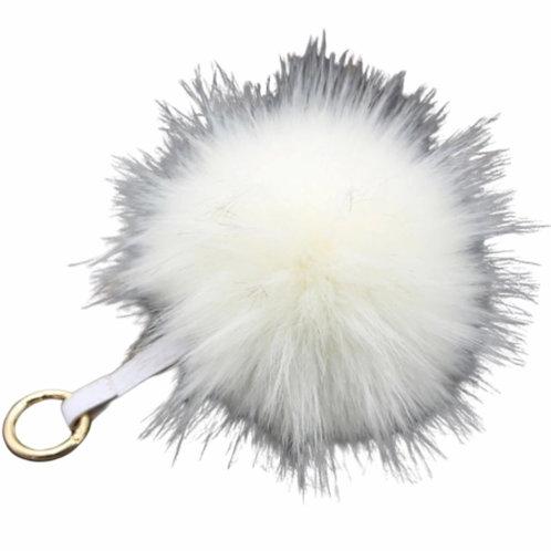 La petite surprise Couture Anhänger mit Fellbommel Weiß