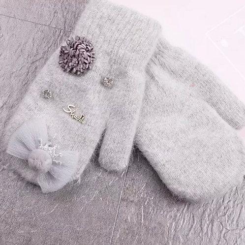 La petite surprise Couture Handschuhe Fäustlinge Grau