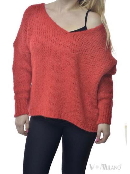 V Milano Pullover Unica Oversize Rot