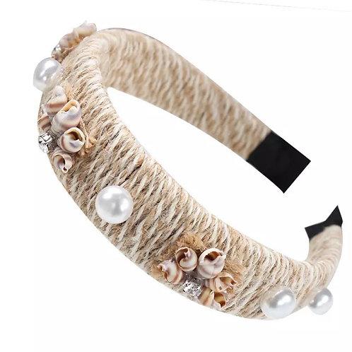La petite surprise Couture Bast Haarreifen mit Muscheln und Perlen