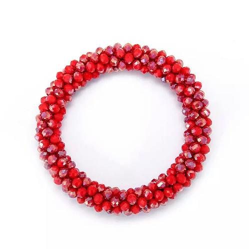 La petite surprise Couture Haargummi / Armband Crystal Dunkelrot