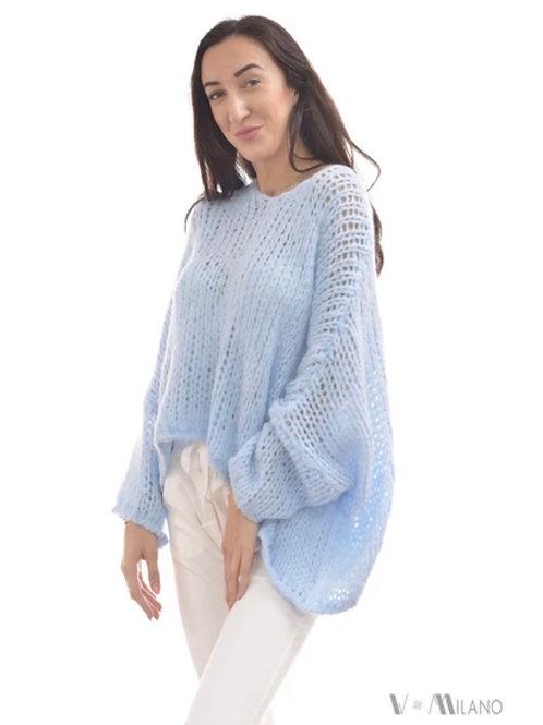 V Milano - Pullover V. Lora Oversize Himmelblau