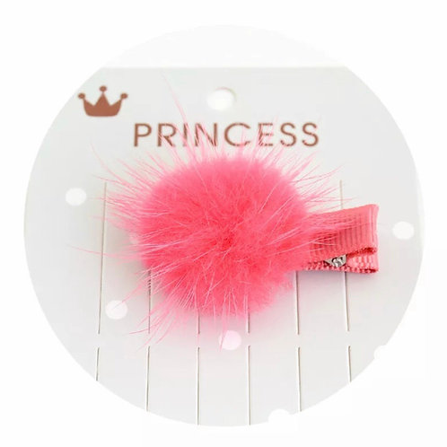 La petite surprise Couture Pompom Haarspange Koralle