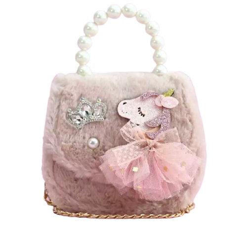 La petite surprise Couture Plüsch Tasche Einhorn Altrosa