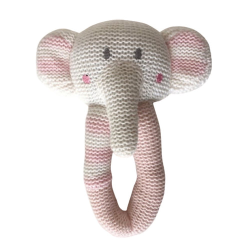 Living Textiles Knitted Baby Rattle Amelia Elephant 19 cm