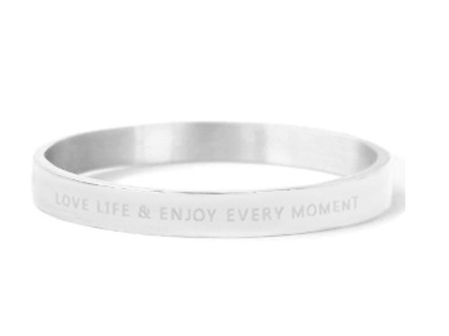 """Armband aus Stainless Steel - """"LOVE LIFE AND ENJOY EVERY MOME"""