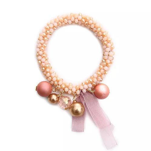 La petite surprise Couture Crystal Haargummi / Armband Rosa-Beige meliert