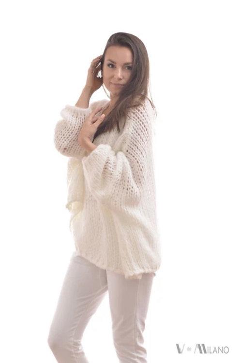 V Milano - Pullover V. Lora Oversize Wollweiß