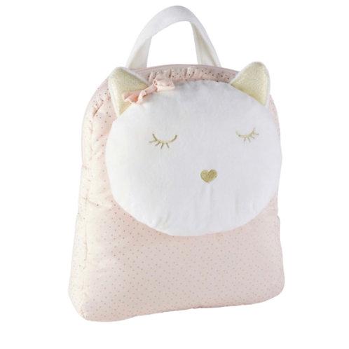 La petite surprise Couture  Rucksack Katze, Baumwolle, weiß, rosa, goldfarben un