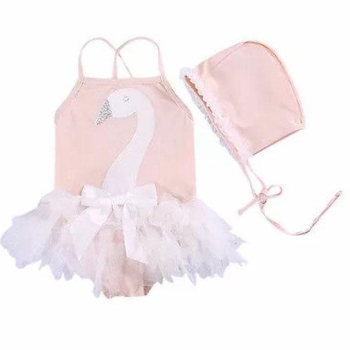 La petite surprise Couture Baby Badeanzug Schwan