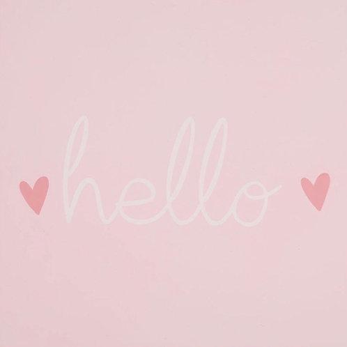 La petite surprise Couture - Holz Wandbild Hello Rosa 18x18 cm