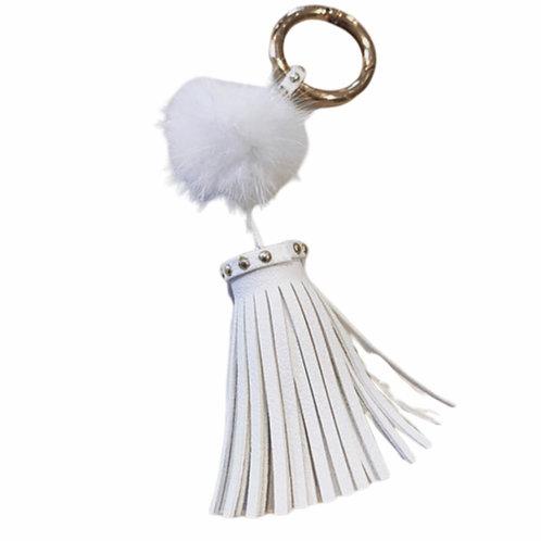 La petite surprise Couture Anhänger Tassel & Fellbommel Weiß