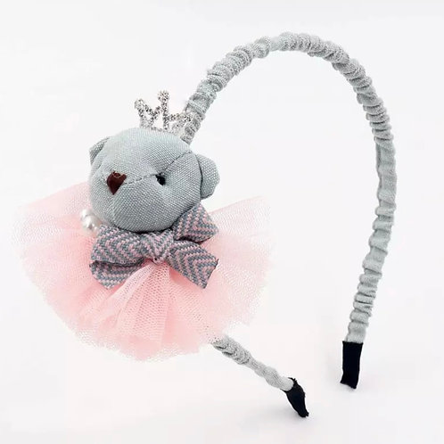 La petite surprise Couture Teddy Haarreifen Grau-Rosa