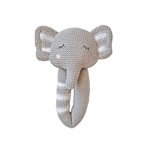 Living Textiles Knitted Baby Rattle Theodore Elephant 19 cm