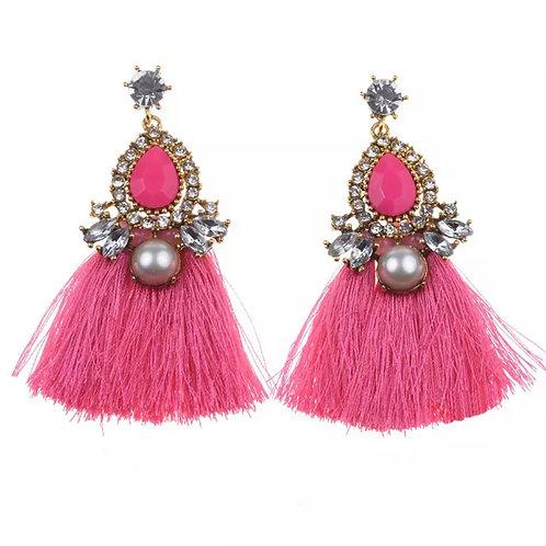 La petite surprise Couture Boho Ohrringe mit Tassel Pink