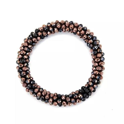 La petite surprise Couture Haargummi / Armband Crystal Schwarz-Bronze