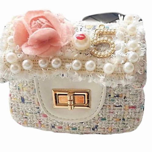 La petite surprise Couture Boucle Täschchen Blume Weiß