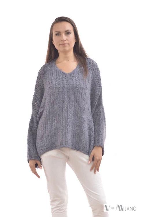 V Milano - Pullover V. Lora Oversize Jeansblau