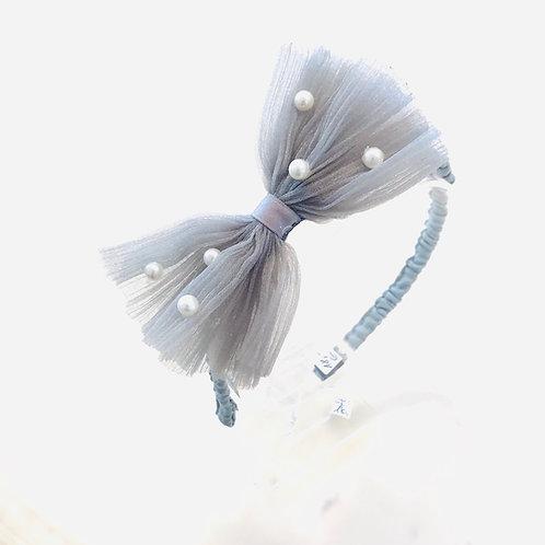 La petite surprise Couture Haarreifen Schleife Grau