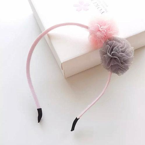 La petite surprise Couture Haarreifen Pompom Rosa-Grau