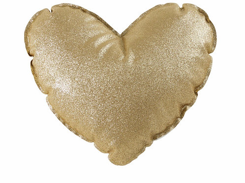 La petite surprise Couture - Herzkissen mit goldenem Glitzer 30x30 cm