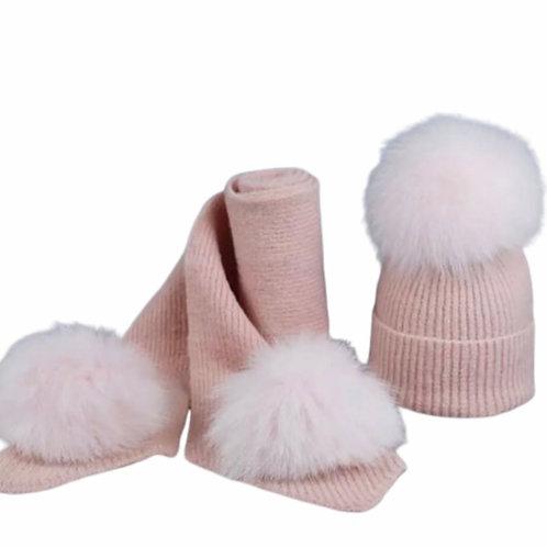 La petite surprise Couture Set, Mütze & Schal Babyrosa
