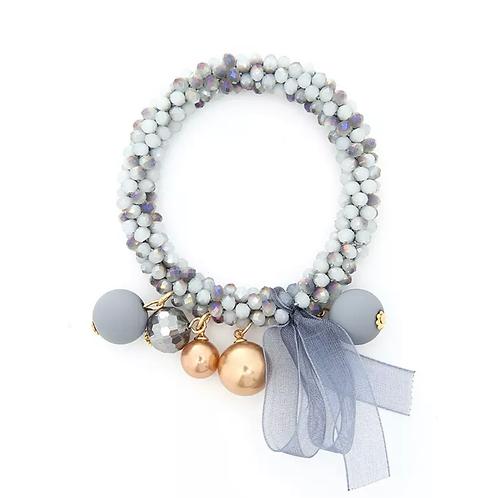 La petite surprise Couture Crystal Haargummi / Armband Grau meliert