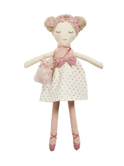 La petite surprise Couture Stoffpuppe, weiß, rosa und altrosa 40 cm