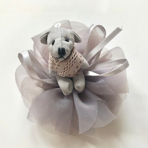 La petite surprise Couture Haarspange Teddy Grau