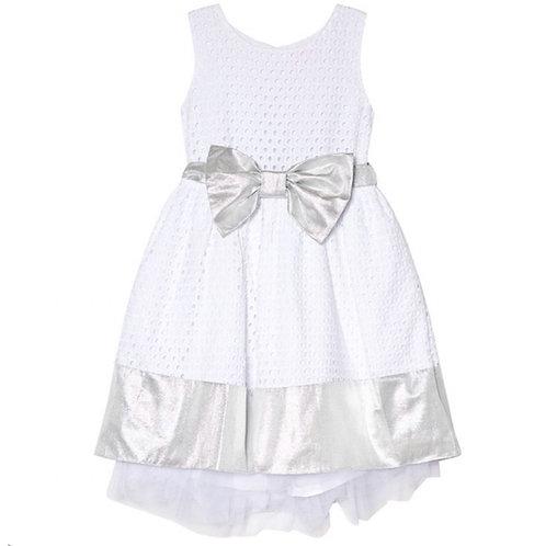 Holly Hastie - Florance Broderie Anglaise Kleid in Weiß und Silber