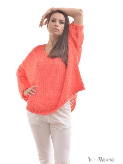 V Milano - Pullover V. Lora Oversize Koralle