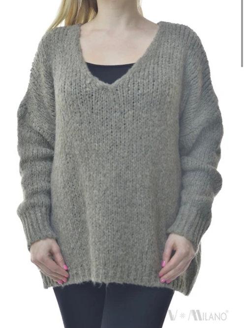 V Milano - Pullover Unica Oversize Schlamm