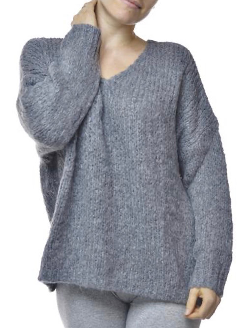 V Milano Pullover Unica Oversize Grau
