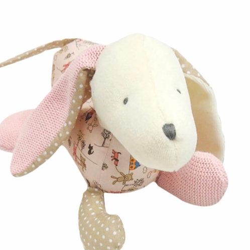La petite surprise Couture - Stofftier Hund Rosa-Beige 27 cm