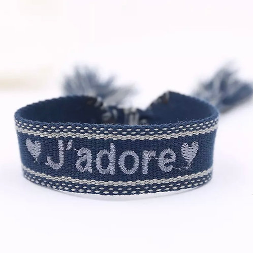 "La petite surprise Couture Canvas Armband ""J'adore"" Blau"