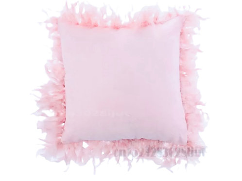 La petite surprise Couture Samt Feder Kissen Rosa 45x45 cm