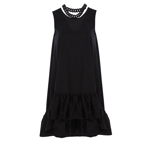 La petite surprise Couture Asymetrisches Kleid mit Kettenausschnitt Schwarz