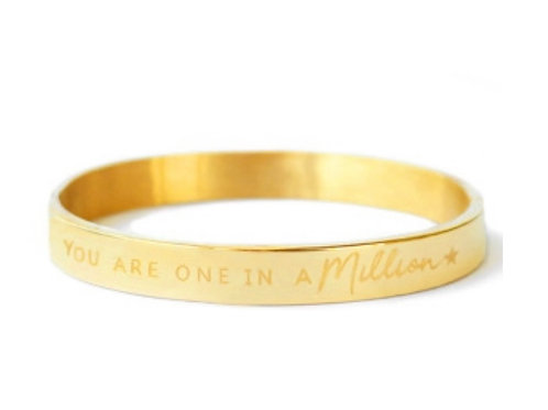 "Armband aus Stainless Steel - ""YOU ARE ONE IN A MILLION"" Gold"