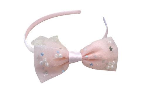 La petite surprise Couture Haarreifen Schleife Hellrosa