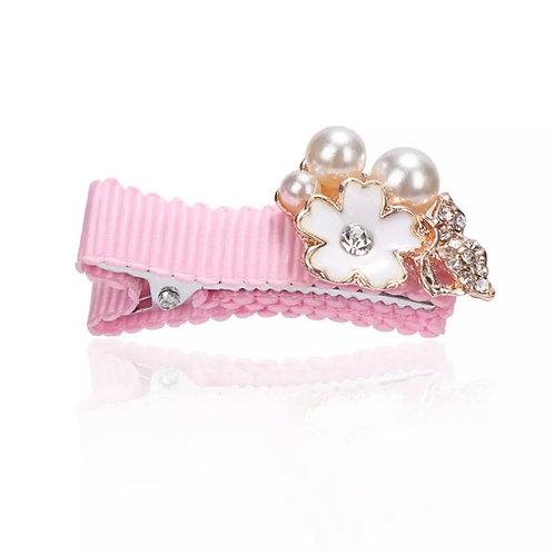 La petite surprise Couture Girly Haarspange Rosa Perlen