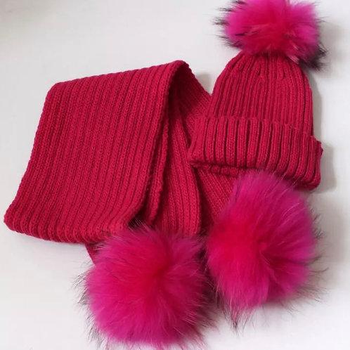 La petite surprise Couture Set, Mütze & Schal Pink