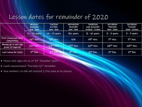 Lesson Dates for remainder of 2020