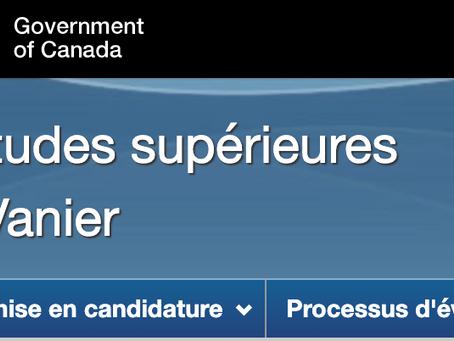 Bourses d'études supérieures du Canada : Bourse Vanier