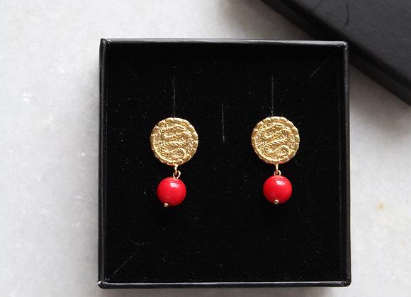 Egypt coral earrings.