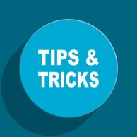 tips tricks blue flat web icon