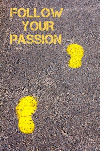 Yellow footsteps on sidewalk towards Follow your Passion message.Conceptualge