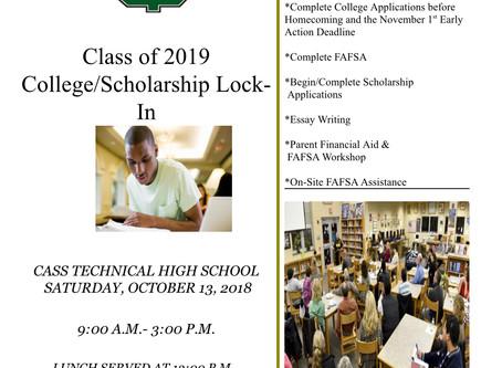 College/Scholarship Lock-in Event October 13, 2018 - We Need Volunteers