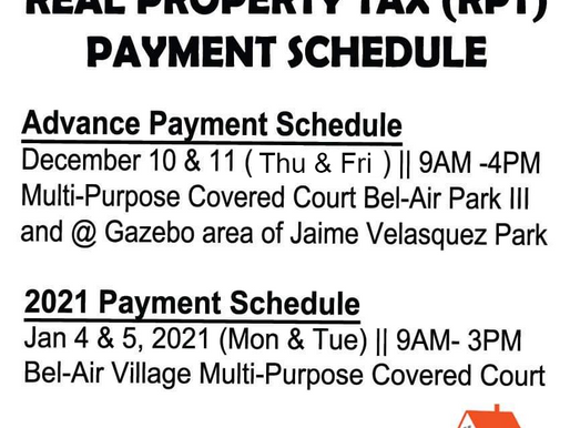 Real Property Tax (RPT) Payment Schedule
