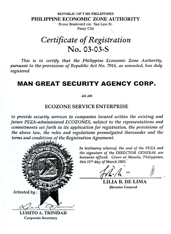 PEZA Certificate of Registration
